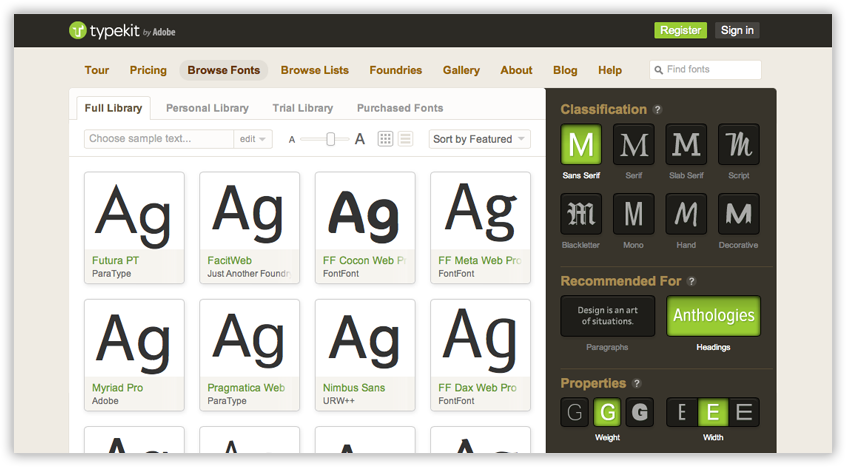typekit web font service, google fonts, how to use google fonts, web fonts, typography, typography for the web, how to choose fonts for your website, website design