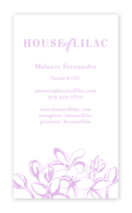House of Lilac Business Card