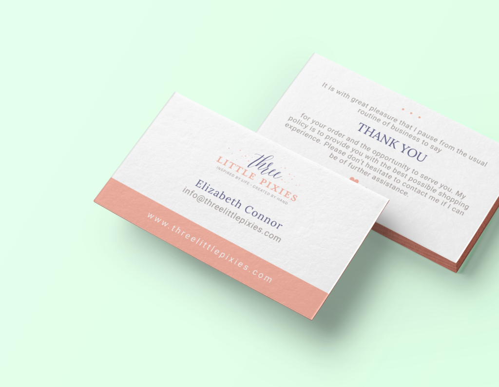 business card design, business card, branding, logo work, logo design, printing, three little pixies